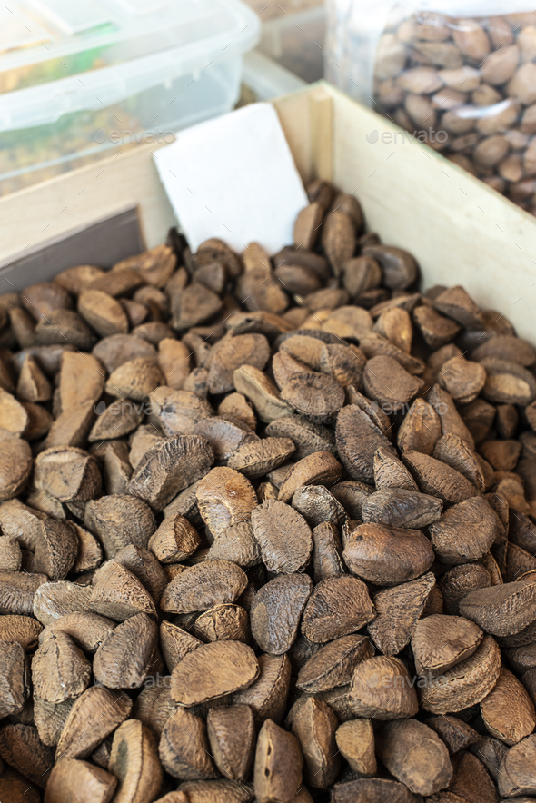 Brazilian nuts on the market. - Stock Photo - Images