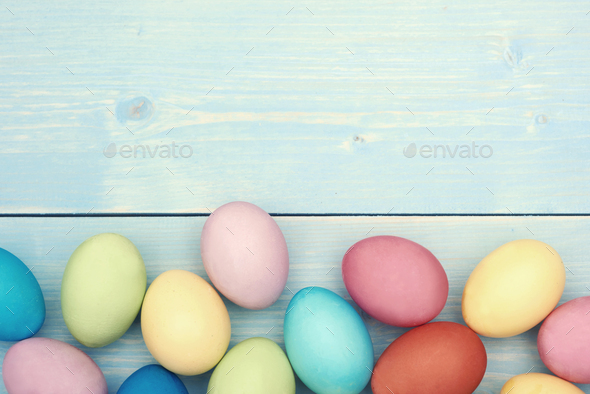 Colorful easter eggs at the lower section - Stock Photo - Images