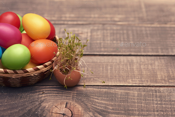Easter decoration on the brown wood - Stock Photo - Images