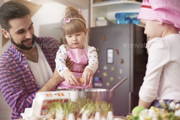 Handmade cookies baked with daddy - Stock Photo - Images