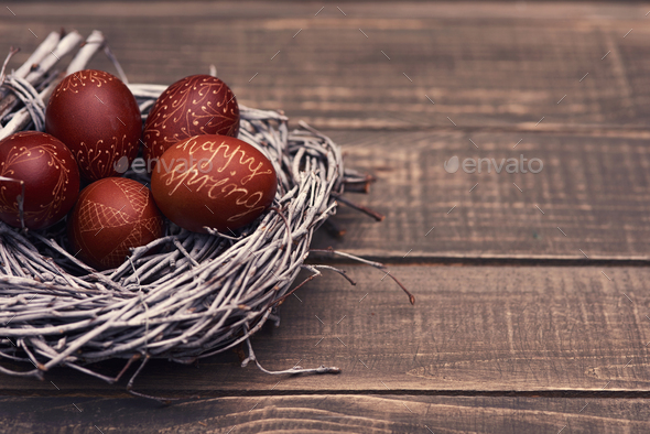 Natural Easter eggs in the nest - Stock Photo - Images