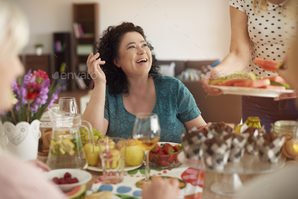 Hand made dinner with mature friends - Stock Photo - Images