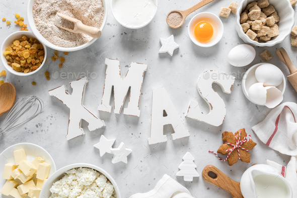 Christmas or Xmas baking culinary background. Ingredients for cooking on kitchen table - Stock Photo - Images