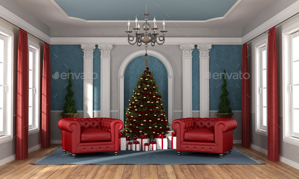 Waiting christmas in a luxury living room - Stock Photo - Images