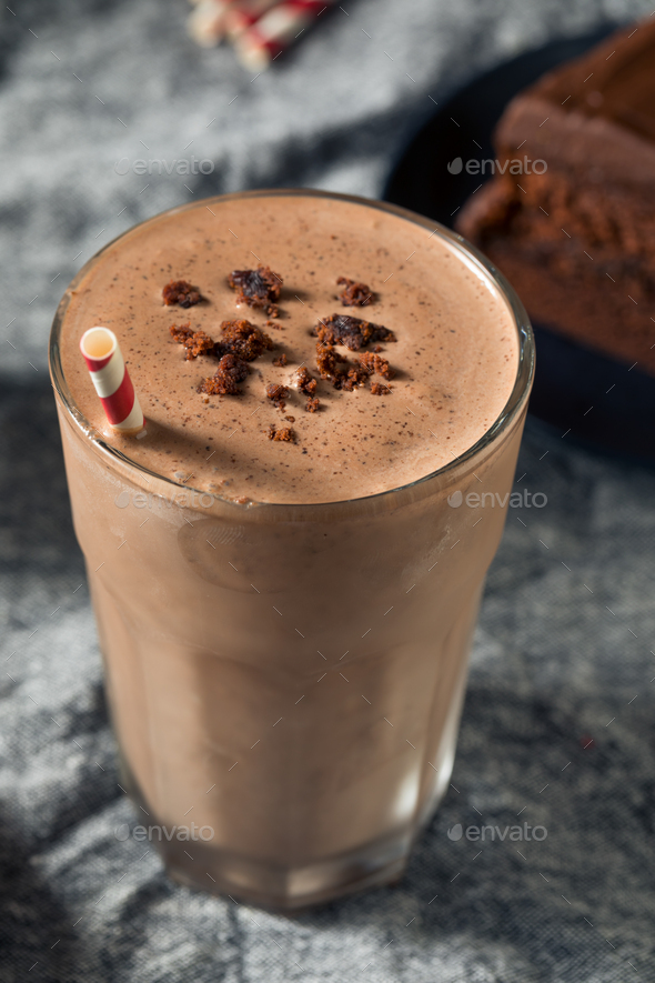 Homemade Chocolate Cake Milkshake - Stock Photo - Images