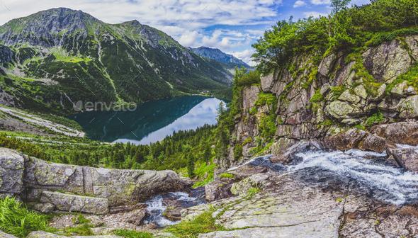 Panorama viem on Morskie Oko from the to the Czarny Staw, Tatra, Poland - Stock Photo - Images