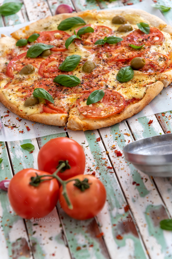 Wood fired pizza viewed from above - Stock Photo - Images