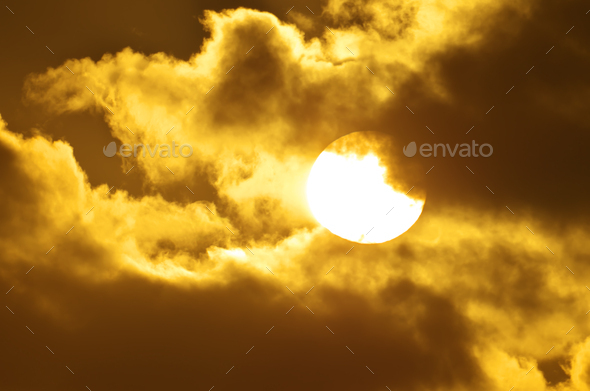 Big sun on sundown. - Stock Photo - Images