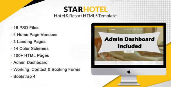 STAR HOTEL - Hotel, Resort & Restaurant Booking HTML5 Template