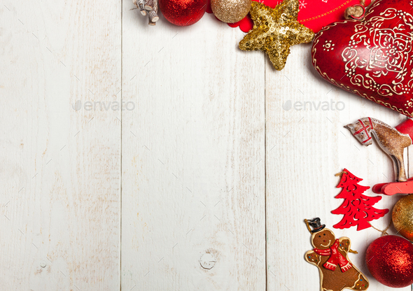 Christmas frame on white wood background. - Stock Photo - Images