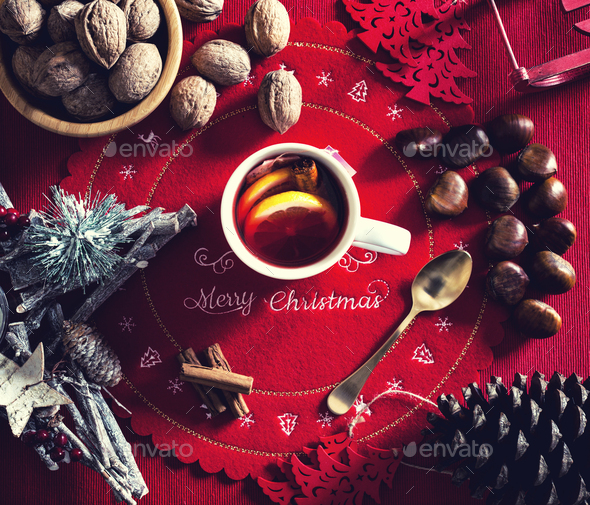 Cup of hot tea on the Christmas table. - Stock Photo - Images