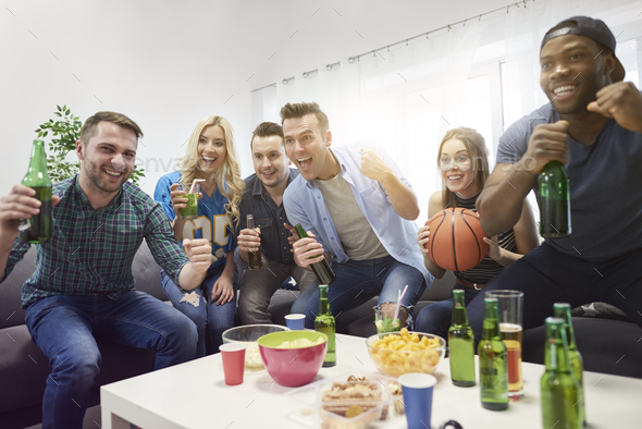Great evening with friends and basketball - Stock Photo - Images