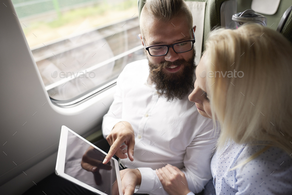 Business couple with digital tablet - Stock Photo - Images