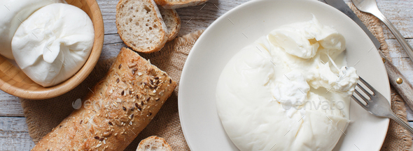 Italian cheese burrata - Stock Photo - Images