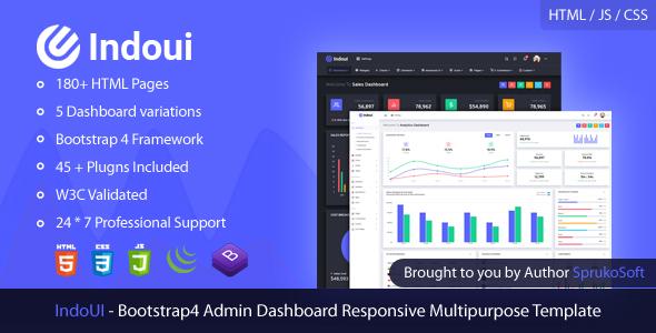 Indoui – Admin Bootstrap 4 Dashboard HTML Template by SprukoSoft