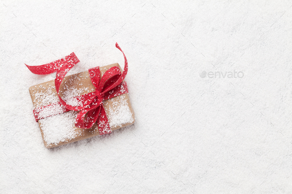 Christmas greeting card with gift box - Stock Photo - Images