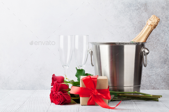 Valentine's day greeting card with champagne - Stock Photo - Images