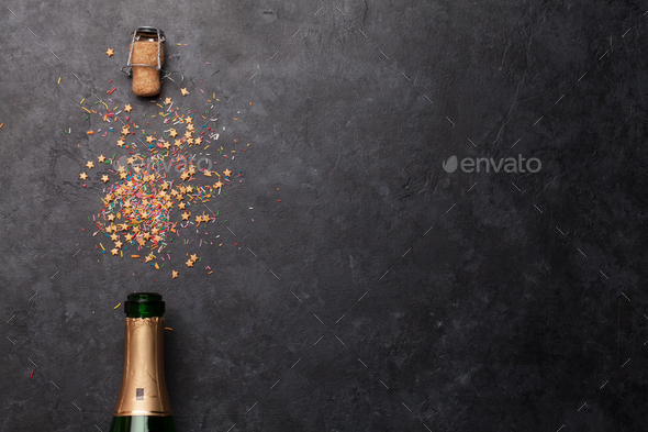 Champagne bottle holiday template - Stock Photo - Images