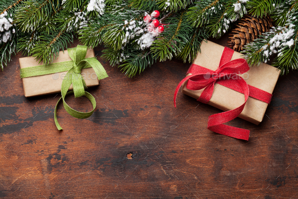 Christmas card with fir tree and gift boxes - Stock Photo - Images