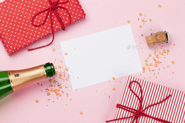 Champagne bottle and christmas card - Stock Photo - Images