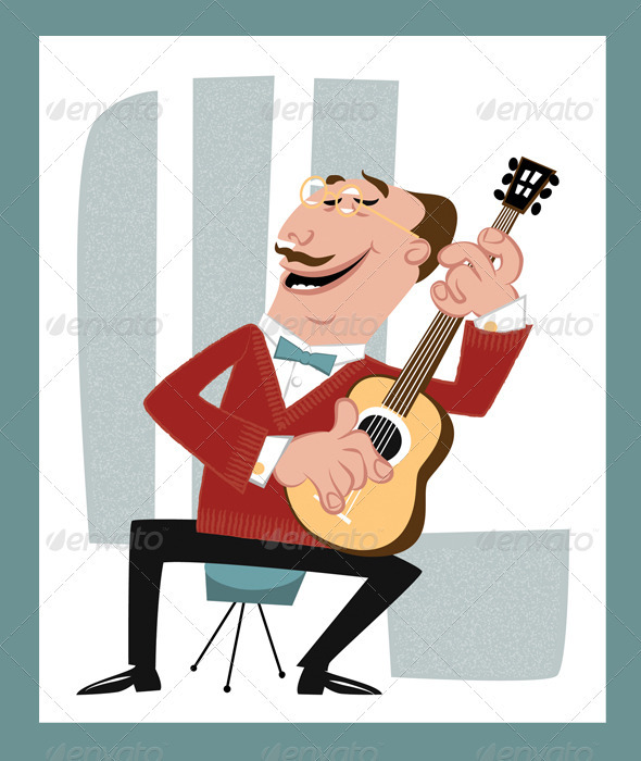 Guitar Music Player, Retro Cartoon Style - Characters Vectors