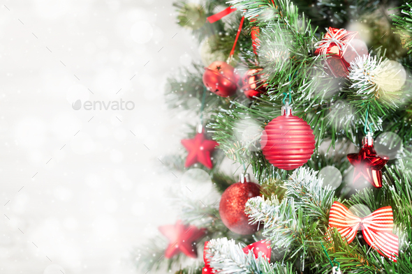 Christmas greeting card with fir tree - Stock Photo - Images