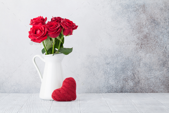 Valentine's day greeting card with roses - Stock Photo - Images