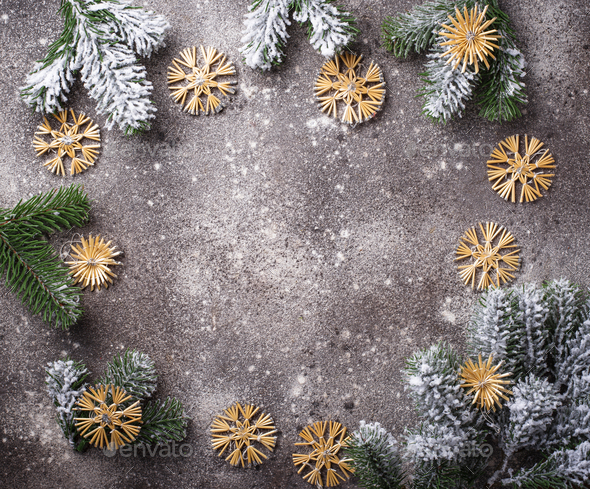 Christmas tree eco decor from straw - Stock Photo - Images