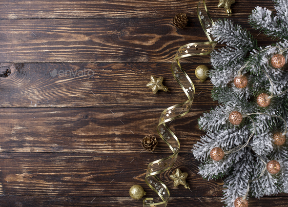 Christmas background with golden decor - Stock Photo - Images