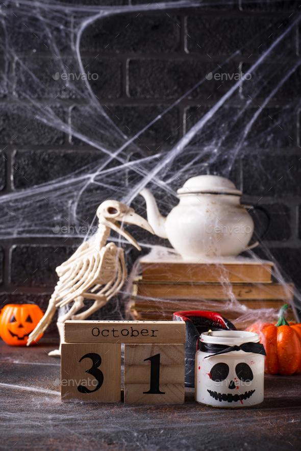 Halloween background with bird skeleton - Stock Photo - Images