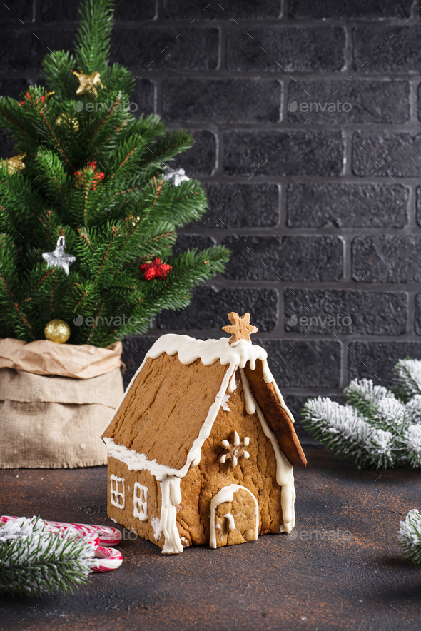 Christmas homemade gingerbread house - Stock Photo - Images