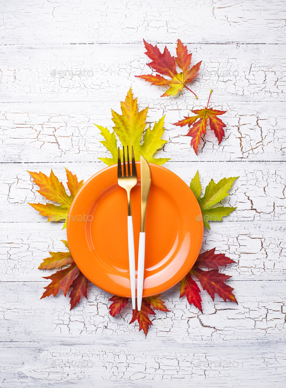Autumn table setting with leaves - Stock Photo - Images