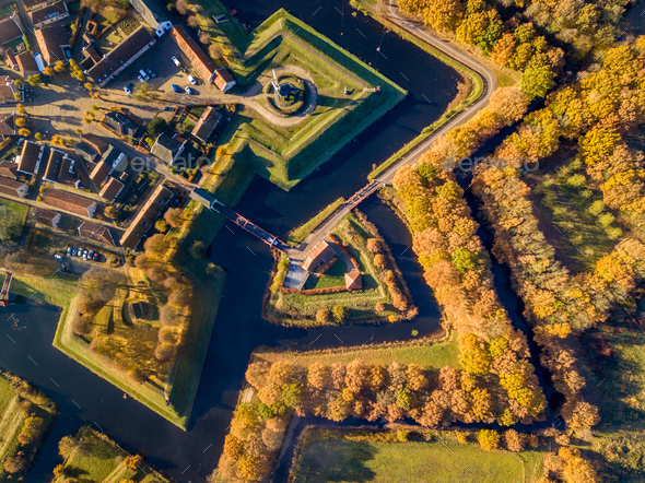 Aerial view of Fortification village of Bourtange - Stock Photo - Images