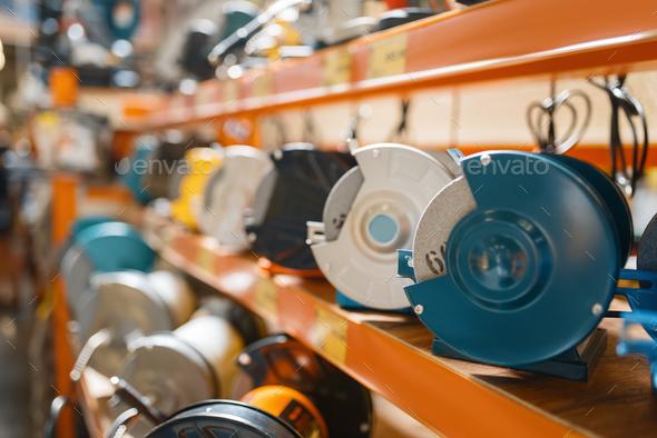 Hardware store assortment, emery machines - Stock Photo - Images