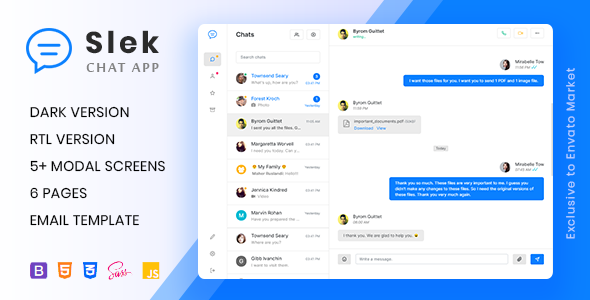 Slek - Chat and Discussion Platform HTML5 Template by laborasyon