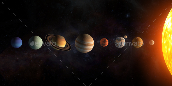 Solar system planets set. The Sun and planets in a row on univer - Stock Photo - Images