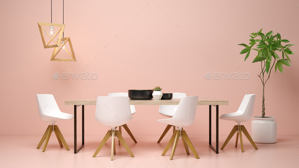 Interior of modern living room 3D rendering - Stock Photo - Images