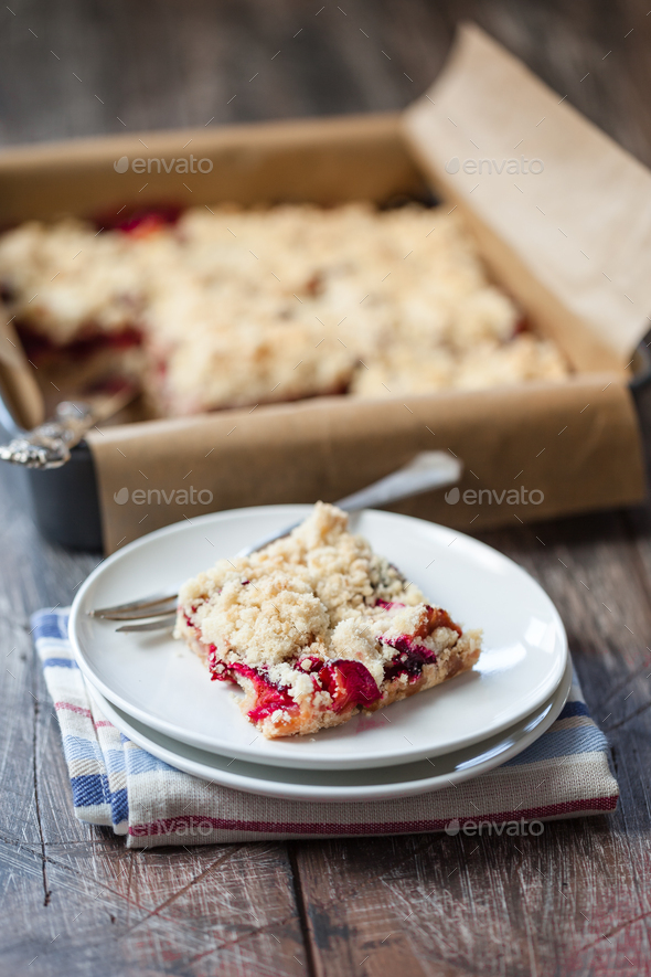 Homemade delicious plum cake - better than from bakery - Stock Photo - Images