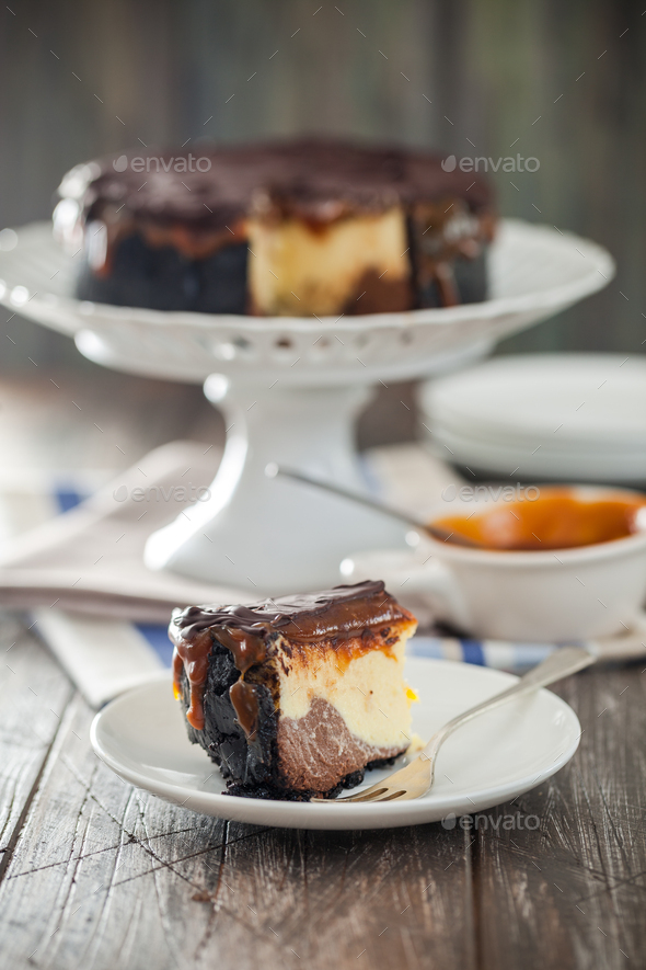 Homemade delicious chocolate and caramel cheesecake - Stock Photo - Images