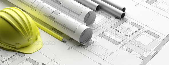 Residential building blueprint plans, banner. 3d illustration - Stock Photo - Images