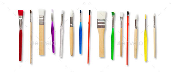 Paint brushes new clean isolated against white background. - Stock Photo - Images