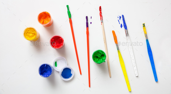 Colorful finger paints set on white color background, top view - Stock Photo - Images