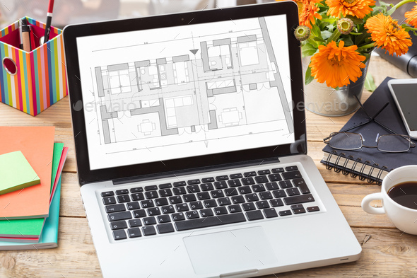 Building project blueprint plan on a computer screen. - Stock Photo - Images