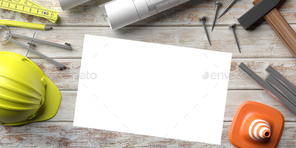Project construction. Blueprints, blank paper and tools on site office desk. 3d illustration - Stock Photo - Images
