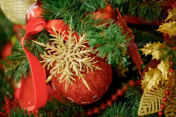Red Christmas ball hanging on Christmas tree. - Stock Photo - Images