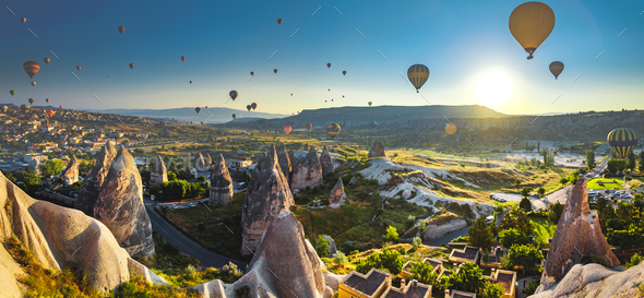 Cappadocia valley at sunrise - Stock Photo - Images