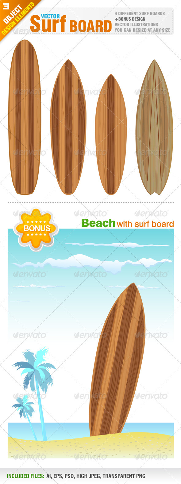 Surf Board Designs - Objects Vectors