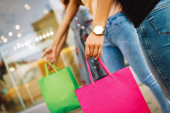Group of happy women shopping, travel, having fun in the city - Stock Photo - Images
