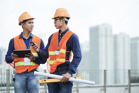 Talking civil engineers - Stock Photo - Images