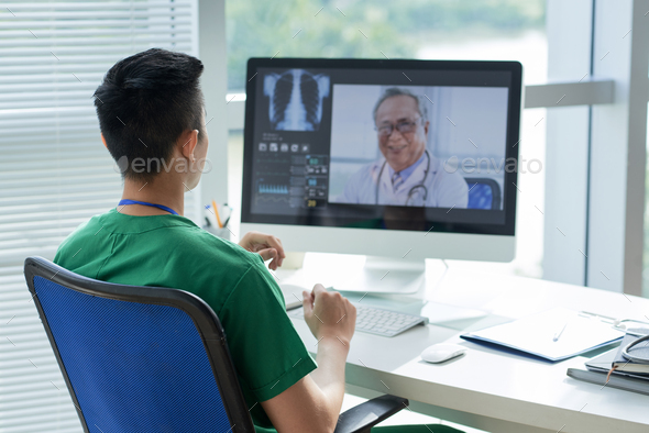 Video conference with doctor - Stock Photo - Images
